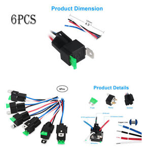 6pack 4pin 30a Fuse Relay Switch Harness Set 12v Dc
