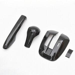 Carbon Fiber Style Handbrake Gear Shift Frame Cover For Honda Accord 2008 2013