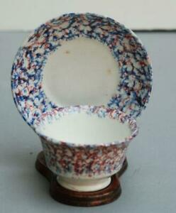 Antique Spatterware Cup And Saucer England 2nd Q 19th C