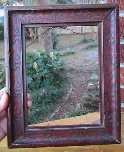 Antique Arts Crafts Small Scrolled Design Wood Frame 6 X 8 In Fit C1900s