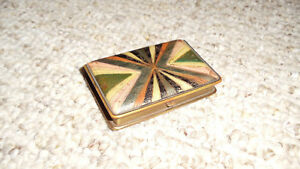 Antique Art Nouveau Mondaine Brass Vanity Makeup Compact Pill Box 2 X 3 Inches