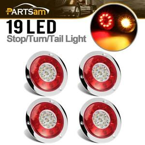 4pc 4 3 Red yellow 19 Led Chrome Stop Tail Turn Signal Brake Lights W reflector