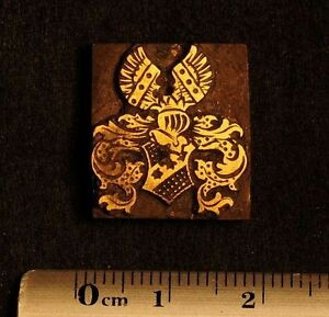 Art Nouveau Ornament Bookbinding Brass Type Letterpress Hot Stamp Arms Emblem X