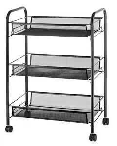 3 Tier Full Metal Rolling Mesh Storage With Baskets Organizer Cart