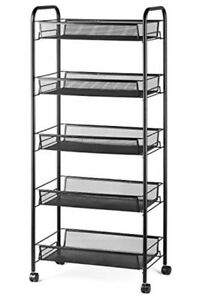 5 tier Rolling Basket Stand Full Metal Rolling Trolley Storage Cart W Wheels