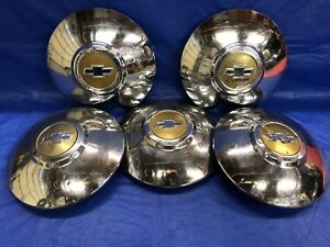 Vintage Set Of 5 1949 50 Chevrolet Dog Dish Hubcaps Rat Rod