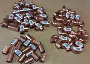 1 2 Copper Sweat Lot Of 68 Fittings Elbows Couplings Tees Sweat Solder New