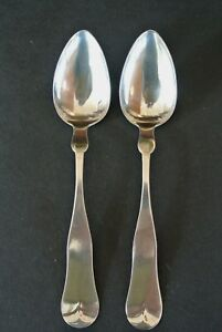 Antique Set Of 2 Palmer Bachelders Coin Silver 7 1 8 Table Spoons