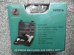 Torque Horse 15 piece Pneumatic Keyless Air Drill Kit Tnt07a