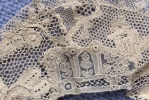 Antique Lace Trim French Doll Ecru Costume Salvage Victorian Edwardian Blythe Aa