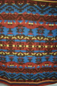 Antique Camp Blanket Wool And Cotton Red Blue Yellow Bold Design 18479