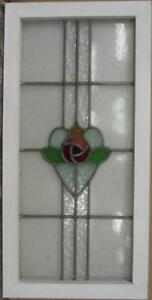 Mid Size Old English Leaded Stained Glass Window Pretty Floral Heart 17 X 34 5