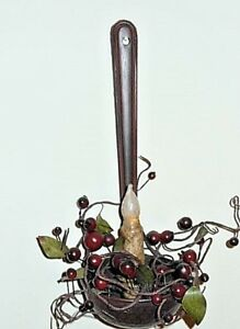 Hanging Primitive Colonial Black Laddle Spoon Taper Holder Only