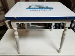 Vintage Child S 1920 S Enamel Porcelain Top Play Table Alphabet Victorian Scene