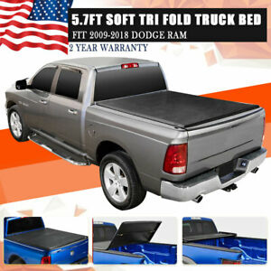 For 2018 Dodge Ram 09 2017 5 7 Leather Soft Tri Fold Tonneau Bed Cover