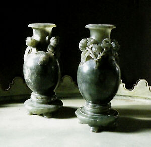 Pair Of Antique Chinese Spinach Green Carved Stone Vases Jade