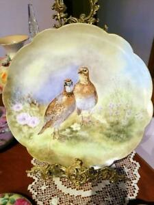 14 Limoges Hand Painted Bird Game Charger Artist Signed