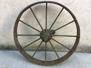 Vintage Industrial Primitive Farm Country Cast Iron Wagon Wheel Yard Decor 25