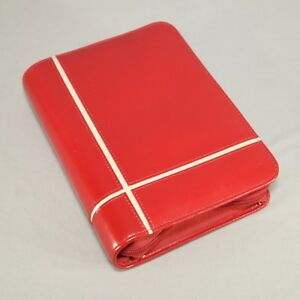 Franklin Covey 365 Red Zipper Leather Planner Organizer 6 Ring 1 Inch