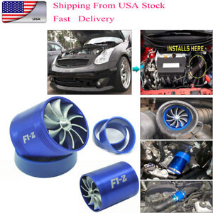 F1 z Double Air Intake Turbine Turbo Supercharger Gas Fuel Saver Fan Charger Hot
