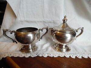 Vintage Wm Rogers Silver Plated Creamer And Sugar Bowl With Lid