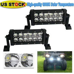 2x 7in 36w Led Work Light Bar Spot Fog Light For Tractor Pickup Kubota Snow Plow