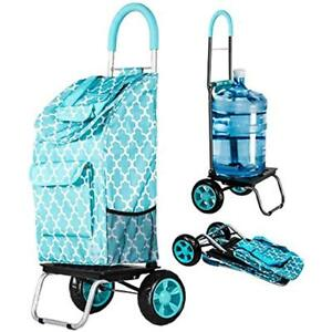 Trolley Dolly Foldable Shopping Grocery Cart Heavy Duty Wheels Moroccan Tile New