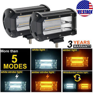 Pair 5 240w Ledwork Light Bar Flood Beam Offroad Fog Driving Amber White Strobe