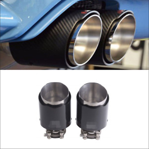 Inlet 3 Outlet 4 Glossy Black Carbon Fiber Car Exhaust Muffler Tip Pipe