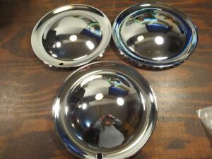 3 Baby Moon 15 Hollywood Style Hubs Cap Wheel Covers Hot Rat Rod Lead Sled R469