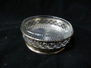 Gorham Sterling Silver Glass Candy Dish W Matched Sterling Holder Tray A12942