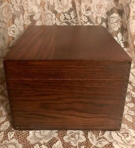 Vintage Large Owl Wood Oak Index Card Library Office File Box Dovetailed Retro