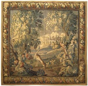 18th Century French Felletin Verdure Landscape Tapestry With Birds And Trees