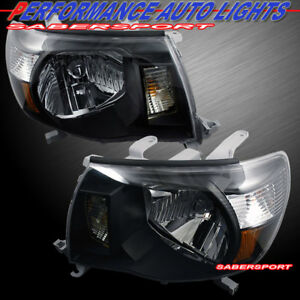 Set Of Pair Oe Style Black Headlights For 2005 2011 Toyota Tacoma