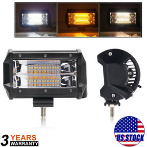 5 Inch 240w Pod Flood Led Work Light Strobe Flash Lamp White Amber Off Road