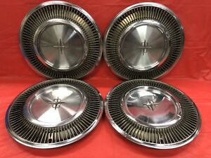 Vintage Set Of 4 1974 78 Lincoln 15 Hubcaps Continental Town Car Good Condition