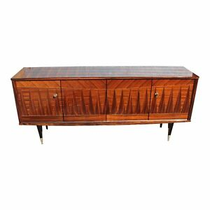 French Art Deco Macassar Ebony Diamond Inlay Sideboard Buffet Circa 1940s