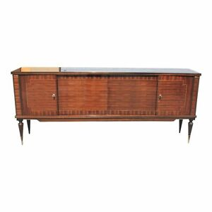 Classic French Art Deco Exotic Macassar Ebony Sideboard Or Buffet Circa 1940s