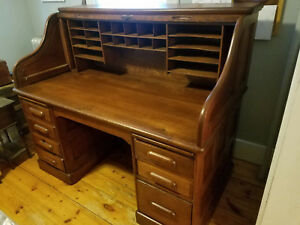 Massive Antique Solid Oak Roll Top Desk