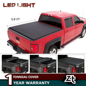 Fit 07 18 Chevy Silverado Gmc Sierra 5 8ft Truck Bed Soft Roll Up Tonneau Cover