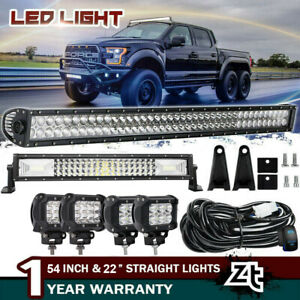52in Led Offroad Light Bar Combo 20in 4x 18w Pods Suv 4wd Ute Ford Truck 50 42