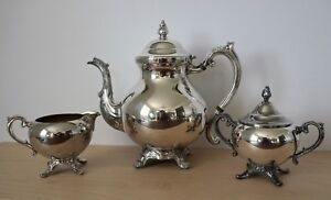 Fb Wm Rogers 1883 3 Pc Silver Plated Coffee Tea Kettle Cream Sugar Service Set