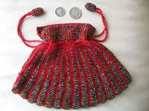 Vintage Red Crochet Carnival Glass Beaded Ball Handle Flapper Purse