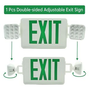 Green Big Emergency Lighting Double Face Exit Sign Indoor Adjustable Universal