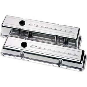 Billet Specialties Sbc Polished Chevrolet Logo Tall Valve Covers P n 95223