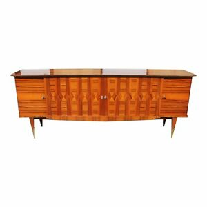 Long French Art Deco Exotic Macassar Ebony Sideboard Buffet Bar Circa 1940s