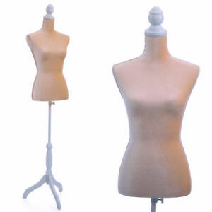 Female Mannequin Torso Dress Form Display W White Tripod Stand Beige