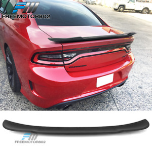 Fits 15 18 Dodge Charger V2 Style Matte Black Abs Rear Trunk Spoiler Lid