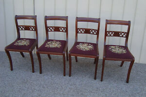59592 Set 4 Mahogany Dining Room Side Chairs