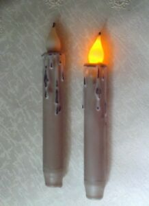 Farmhouse Gray Timer Taper Candles 6 5 Grungy Primitive Set Of 2 Led Rustic
